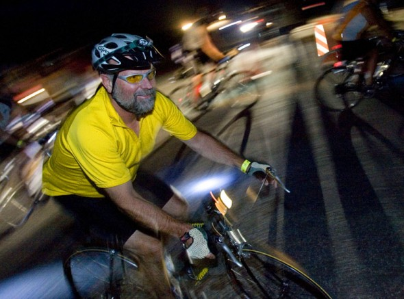 Riders en mass begin the 16th Annual Antelope by Moonlight Bike Ride Friday, July 10, 2009 on Antelope Island. Proceeds from the 22-mile ride that took more than 1,000 riders from Antelope Island Marina to the historic Fielding Garr Ranch and back go to Antelope Island State Park projects. Jim Urquhart/The Salt Lake Tribune; 7/10/09
