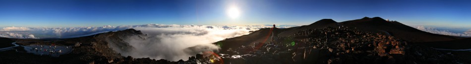 360 degree panoramic of sunrise atop 10,023 foot Haleakala Volcano Crater on the Island of Maui- Photo by Jim Urquhart/Straylighteffect.com