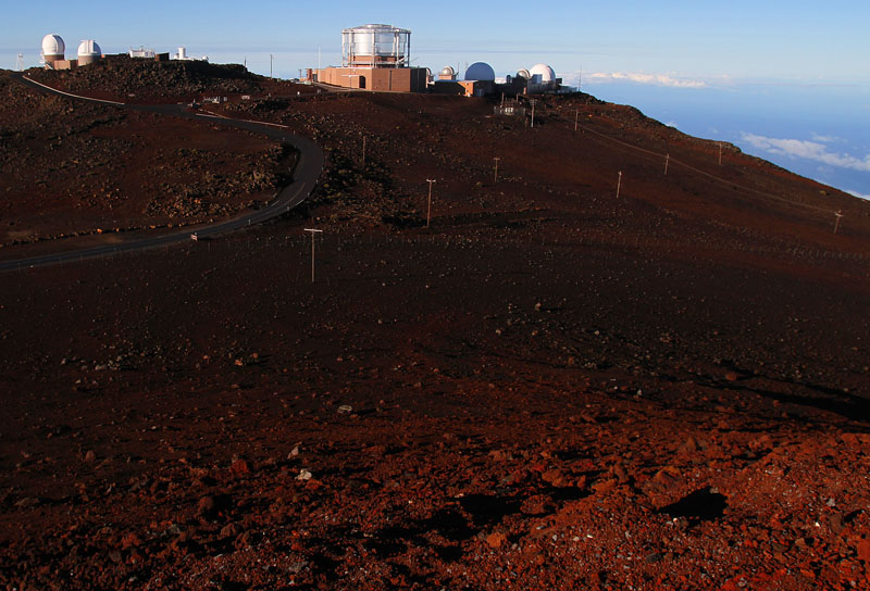 The observatories atop 10,023 foot Haleakala Volcano Crater on the Island of Maui- Photo by Jim Urquhart/Straylighteffect.com