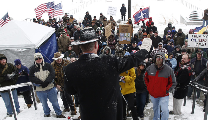 Montana state Senator Ryan Zinke address a pro gun activist rally as part of the National Day of Resistance at the state Capitol in Salt Lake CIty, Utah, February 23, 2013.  REUTERS/Jim Urquhart  (UNITED STATES)