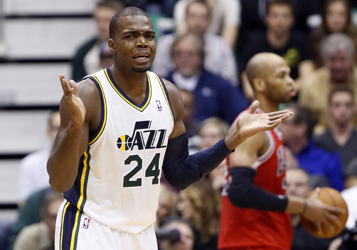 Utah Jazz forward Paul Millsap (24) reacts to a call during the first half of their NBA basketball game against the Chicago Bulls in Salt Lake City, Utah, February 8, 2013. REUTERS/Jim Urquhart (UNITED STATES)