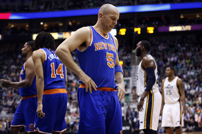 New York Knicks guard Jason Kidd (5) during the second half of their NBA basketball game against the Utah Jazz in Salt Lake City, Utah, March 18, 2013. REUTERS/Jim Urquhart (UNITED STATES)