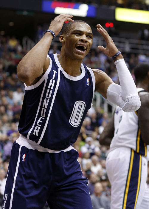 Oklahoma City Thunder guard Russell Westbrook (0) reacts to a call during the first half of their NBA basketball game against the Utah Jazz in Salt Lake City, Utah, February 12, 2013. REUTERS/Jim Urquhart (UNITED STATES)