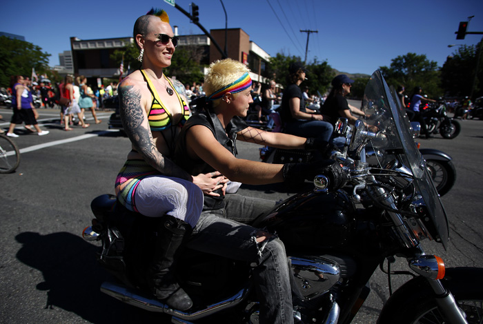 Motorcycle riders lead the gay pride parade in Salt Lake City, Utah, June 2, 2013. Both active Mormons and members of the Boy Scouts marched with members of LGBT community and their supporters as part of the Utah Pride Festival. REUTERS/Jim Urquhart (UNITED STATES)