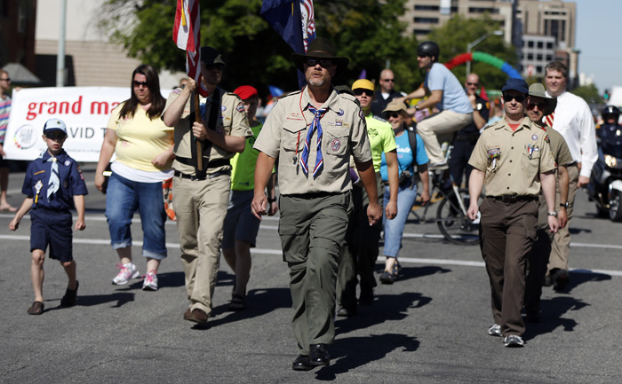 Members of the Boys Scouts of America march in a gay pride parade in Salt Lake City, Utah, June 2, 2013. Both Mormons and members of the Boy Scouts marched with members of LGBT community and their supporters as part of the Utah Pride Festival. REUTERS/Jim Urquhart(UNITED STATES)